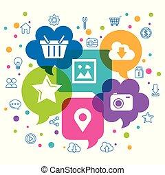 netwerk, iconen, op, toespraak, achtergrond, sociaal, bellen, witte