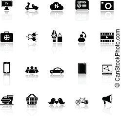 netwerk, iconen, reflecteren, achtergrond, sociaal, witte