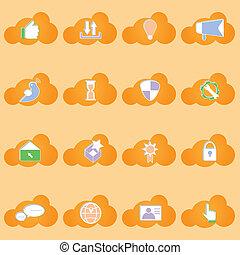 netwerk, iconen, vorm, sociaal, schaduw, wolk