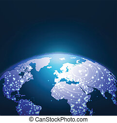 netwerk, illustratie, vector, wereld, achtergrond, technologie