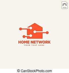 netwerk, illustratie, verbinding, vector, mal, thuis, logo