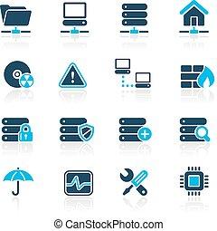 netwerk, kelner, &, hosting/, hemelsblauw