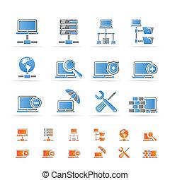 netwerk, kelner, hosting, iconen