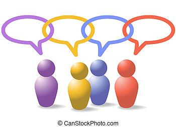 netwerk, ketting, mensen, media, symbolen, schakel, sociaal