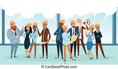 netwerk, malen, vermalen, communicatie, aannemer, team, bel, klesten, hardloop, architect, praatje, sociaal, het bespreken, werkmannen