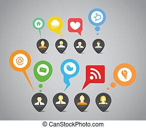 netwerk, media, abstract, toespraak, sociaal, bellen