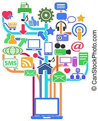 netwerk, media, achtergrond, sociaal
