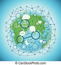netwerk, media, concept., communicatie, vector, sociaal, plan, abstract