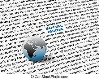 netwerk, media, globaal, verbinden, woorden, sociaal, pagina