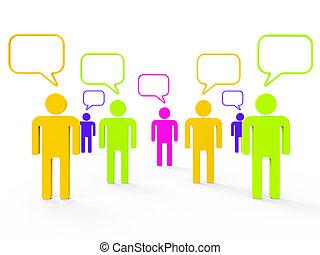 netwerk, mensen, het communiceren, communiceren, indiceert, computer