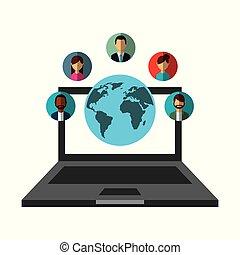 netwerk, mensen, media, draagbare computer, communicatie, sociaal, wereld