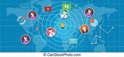 netwerk, mensen, media, sociaal, wereld, interconnected, ongeveer