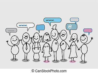 netwerk, mensen, sociaal