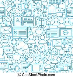 netwerk, model, seamless, sociaal, wit lijnen