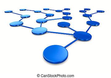 netwerk, op wit, achtergrond., vrijstaand, 3d, beeld