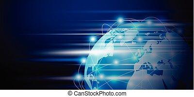 netwerk, ruimte, globaal, illustratie, verbinding, vector, ontwerp, kopie