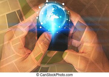 netwerk, scherm, hand, telefoon., sociaal, beroeren, concept., smart