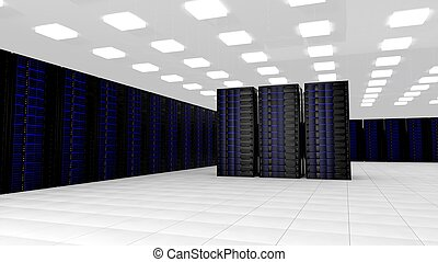 netwerk, servers, in, gegevensmidden