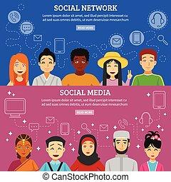 netwerk, set, sociaal, banieren