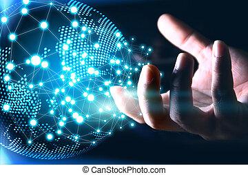 netwerk, sociaal, concept., connected., wereld