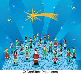 netwerk, sociaal, globaal, kerstmis, media