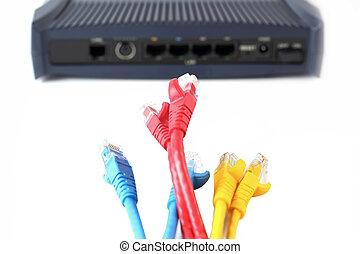 netwerk, switch, en, utp, ethernet, kabels