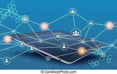 netwerk, tablet, mensen, lijn., teamwork, verbinden