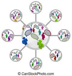 netwerk, van, mensen, het communiceren, in, netwerk, van, aansluitingen