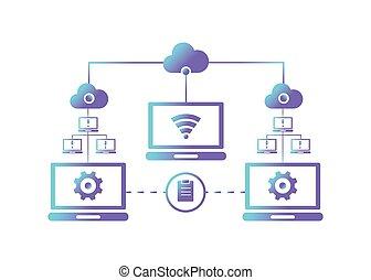netwerk, vector, illustratie, computer, concept