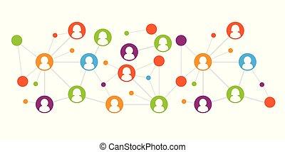 netwerk, werkende , concept., team, illustratie, verbinding, vector, menselijk, sociaal, model