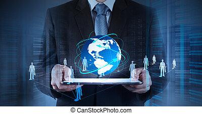 netwerk, werkende , tonen, moderne, computer, zakenman, nieuw, sociaal