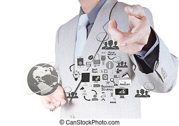 netwerk, werkende , tonen, moderne, computer, zakenman, ...