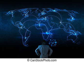 netwerk, werkende , tonen, moderne, computer, zakenman, nieuwbouw, sociaal