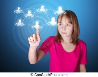 netwerk, wijzende, scherm, lid, sociaal, beroeren, meisje