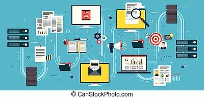 netwerk, zakelijk, gegevensverwerking, intelligence., data, wolk, artikelen & hulpmiddelen