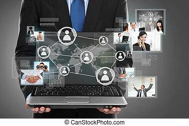 netwerk, zakelijk, verbinding, het voorstellen, sociaal, man