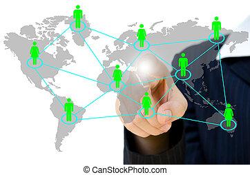 netwerk, zakenlui, communicatie, voortvarend, jonge, whiteboard., sociaal