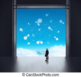 networ, ministráns, üzletember, hálózat, társadalmi, álló, szoba, 3