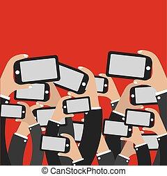 networ., smartphones, manos, social
