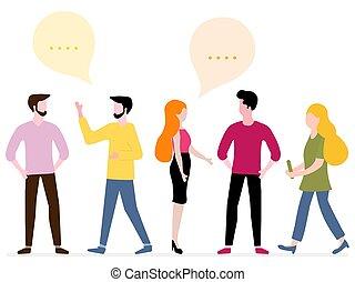 network., グループ, 人々, 社会, チャット, communicate.