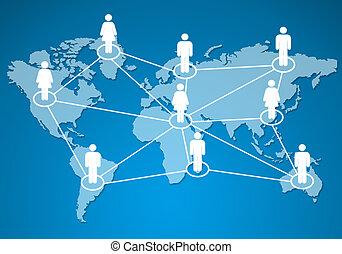 network., モデル, 一緒に, 接続される, 人間, 社会