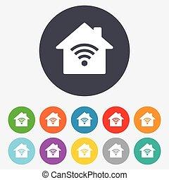 network., 印。, wifi, シンボル。, 無線, 家, wi - fi