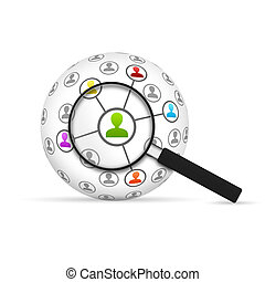 Network 3d Sphere with magnifying glass on white background.