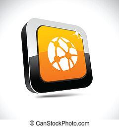 Network 3d square button.
