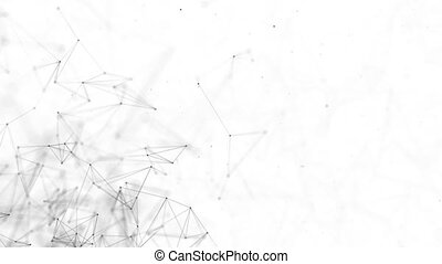 Network abstract connection isolated background. Network technology background with dots and lines for backdrop. Business Presentation Seamless Loop Background.