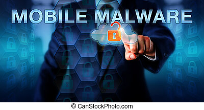 Network Administrator Pointing At MOBILE MALWARE