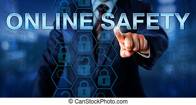 Network Administrator Pressing ONLINE SAFETY - Network...