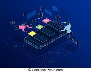 network., al folk, medier, hen, posts., illustration, efterlader, vektor, forbinde, comments, sociale, world., holder af
