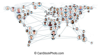 Network And Communication Concept On World Map - Collage Of...