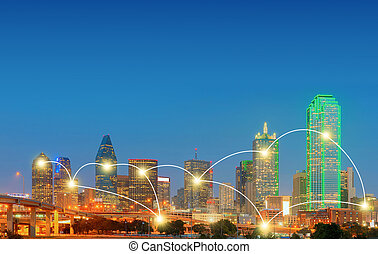 Network and Connection Technology Concept of Downtown Dallas, Texas, USA